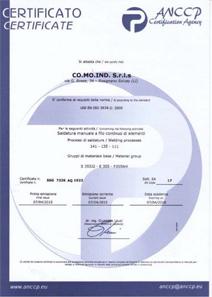 Certificazione SSG 7326 AQ 1923 UNI EN ISO 3834-2